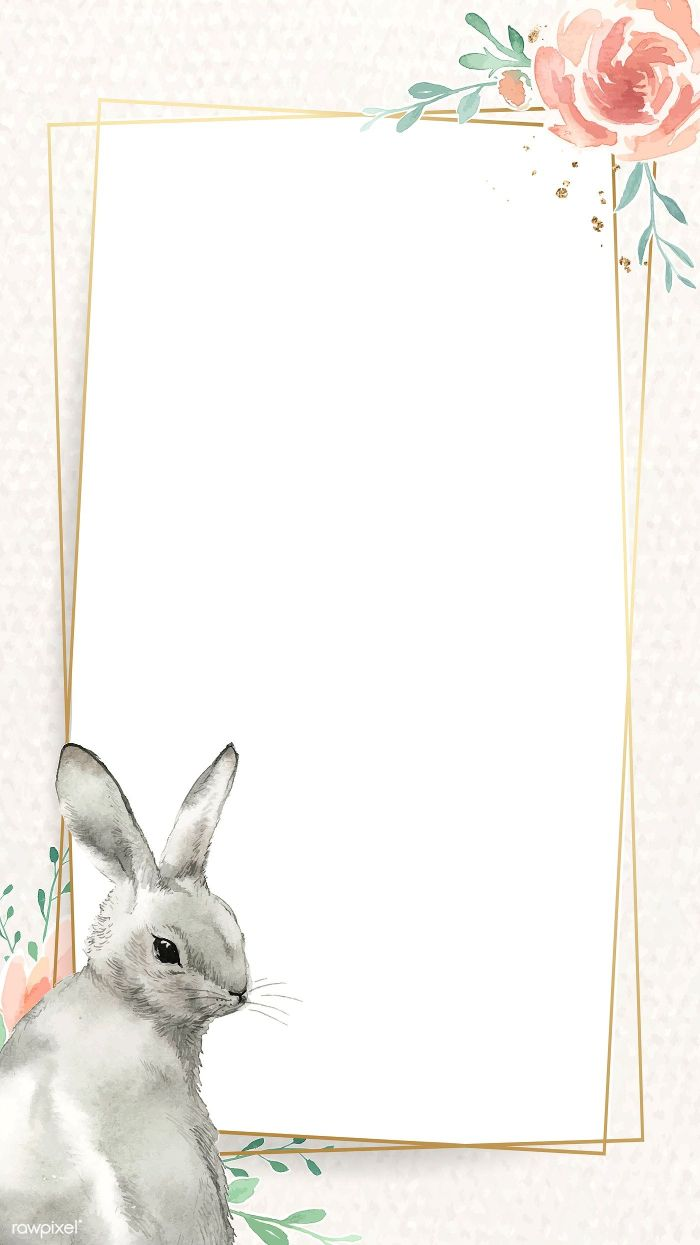 frame in rose gold easter background images bunny and watercolor rose on the side
