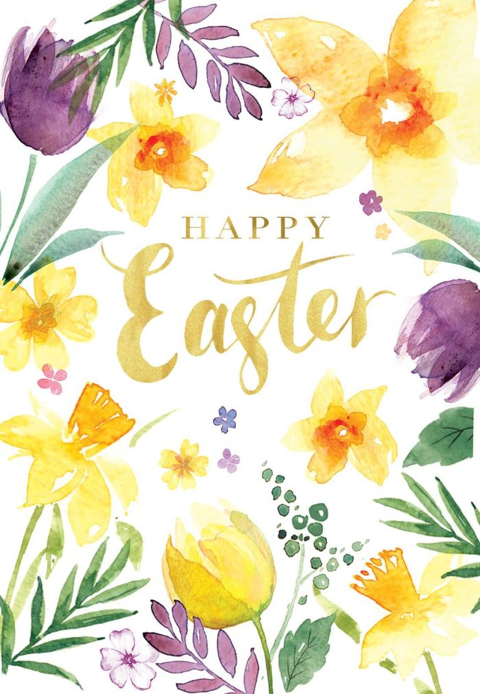 free easter wallpaper happy easter written in gold in cursive surrounded by watercolor flowers