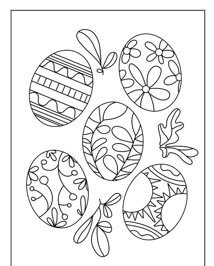 free printable easter coloring pages five eggs drawn with different patterns