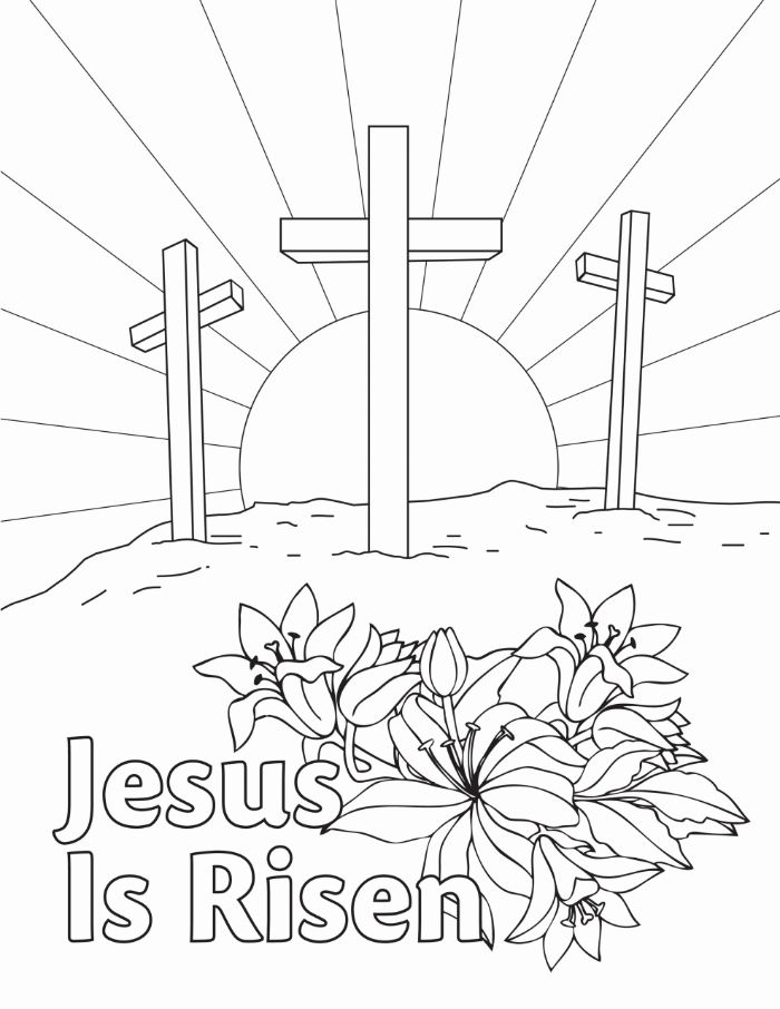 free printable easter egg coloring pages jesus is risen written underneath drawing of three crosses