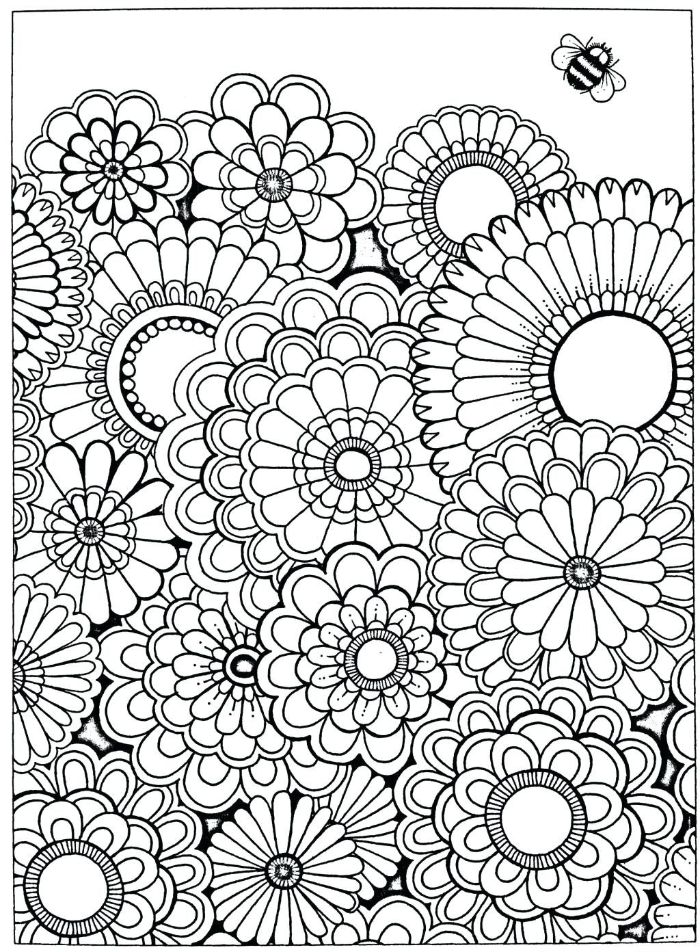 free printable flower coloring pages lots of flowers bunched together bee above them