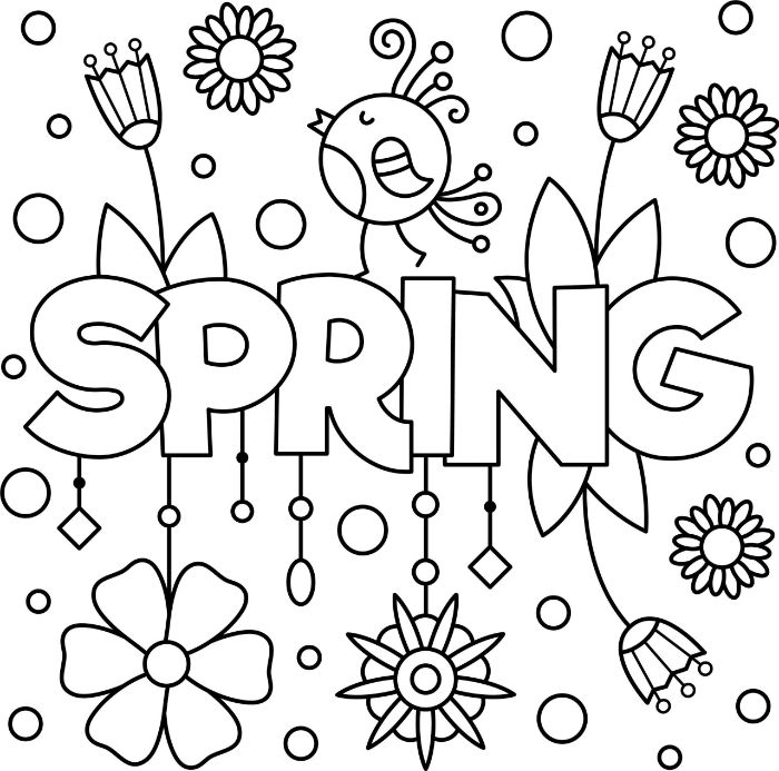 free spring coloring pages spring written in the middle surrounded by flowers and bird