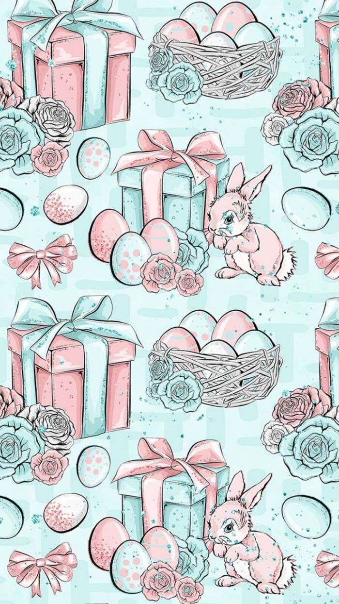 gifts easter egg baskets roses bunnies easter background free digital drawings on blue background