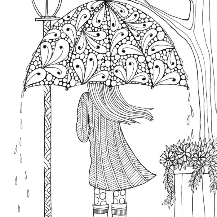 girl holding an umbrella raindrops around it printable full size coloring pages for kids