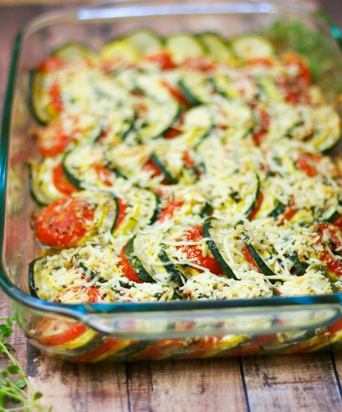 gratin with slices of squash zucchini and tomatoes how to cook squash garnished with shredded cheese