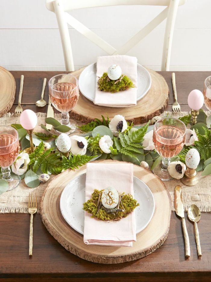 greenery table runner with eggs and flowers easter decoration ideas plate settings with wooden logs moss and eggs