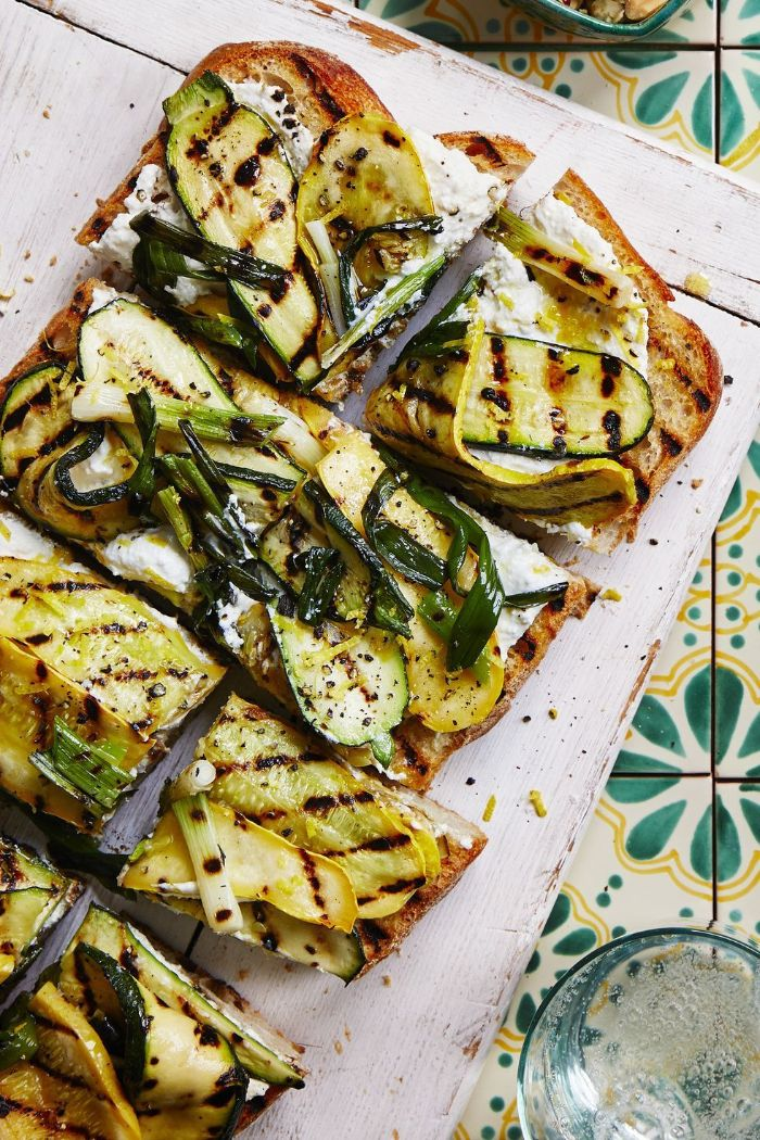 grilled bread covered with ricotta cheese summer squash recipes grilled squash and zucchini on top