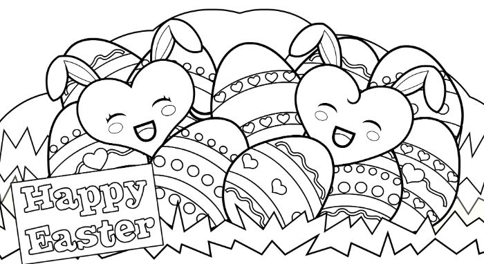 happy easter easter coloring pages basket full of eggs two hearts with bunny ears