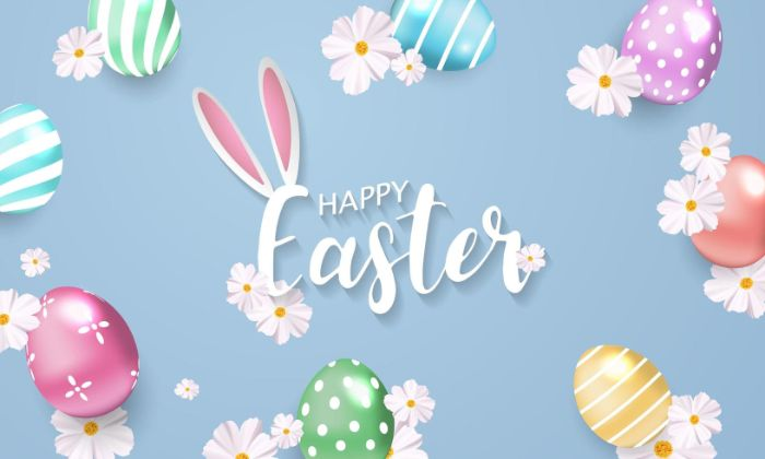 happy easter written in cursive on blue background easter wallpaper drawings of eggs and flowers around it