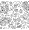 happy easter written in the middle printable easter coloring pages drawings of eggs flowers bunnies around