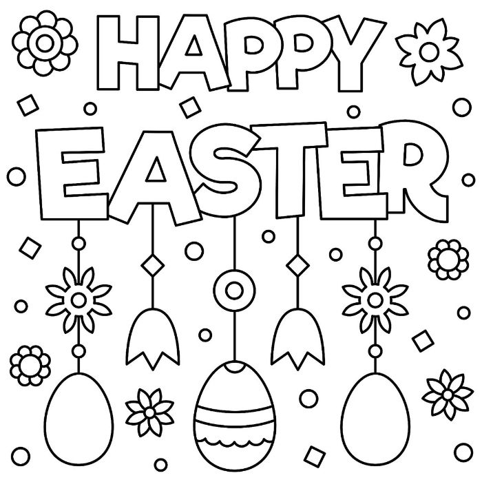 happy easter written on white background easter coloring sheets flowers and eggs drawn around it