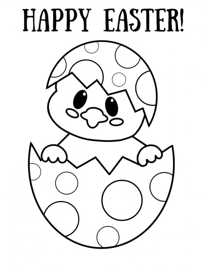 happy easter written over black and white drawing easter pictures to color small chicken coming out of an egg