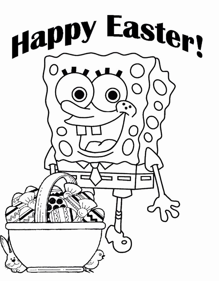 happy easter written over drawing of spongebob free printable easter coloring pages basket full of eggs