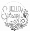 hello spring written in the middle printable full size coloring pages for kids surrounded by flowers