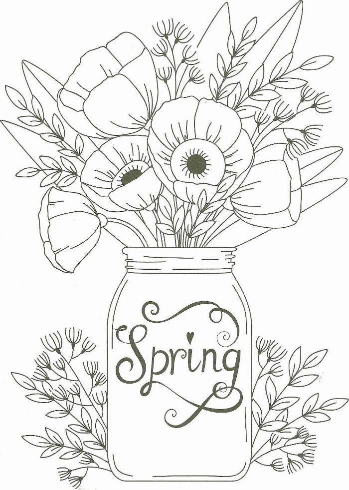 jar filled with spring flowers free spring coloring pages spring written on the jar in cursive font