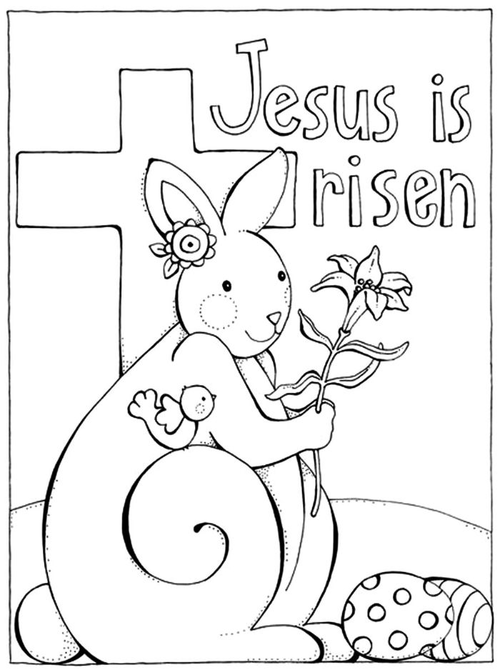 jesus is risen written over photo of bunny holding a flower easter pictures to color