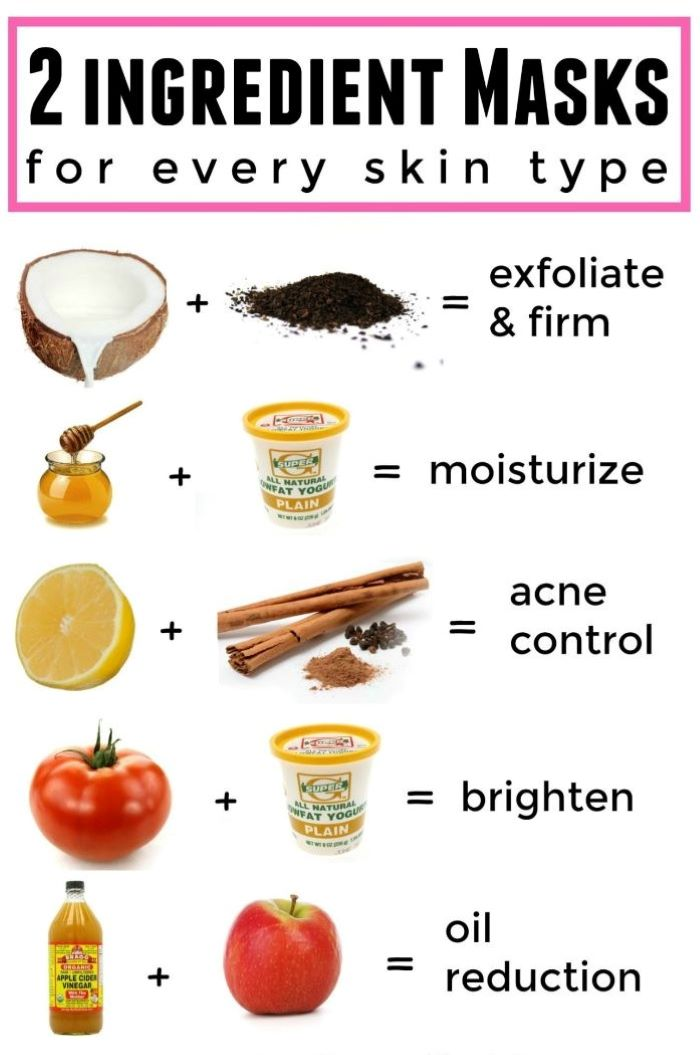 list of masks with two ingredients for every skin type homemade face mask white background