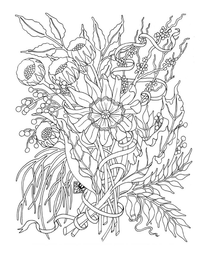 lots of different flowers bunched together spring coloring sheets black and white drawing