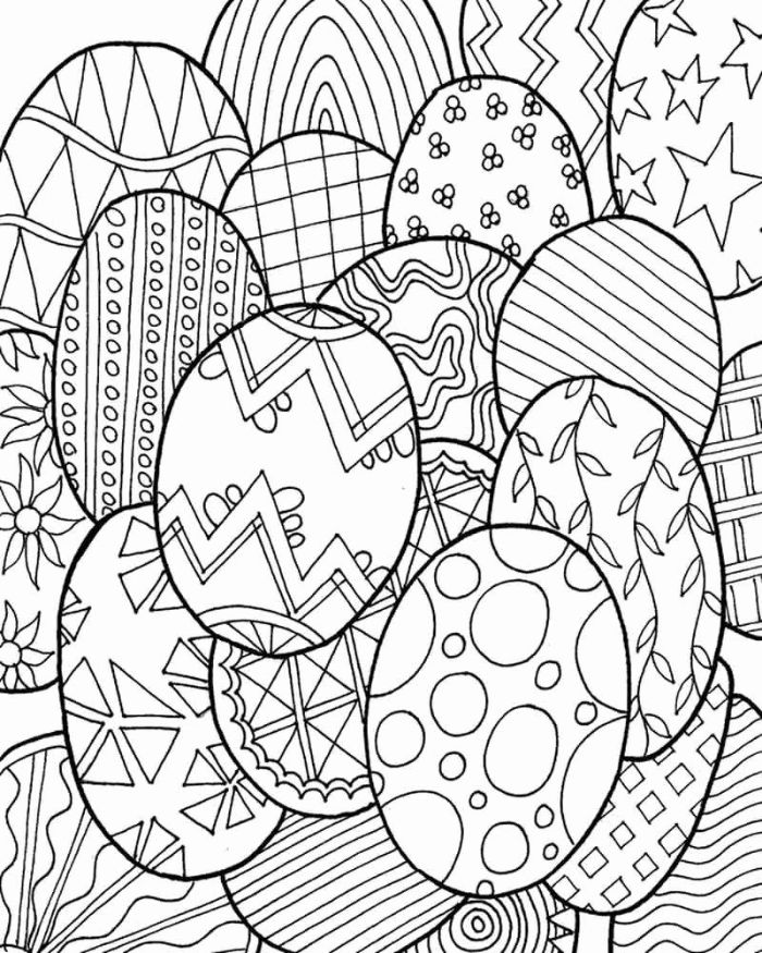 lots of eggs drawn with different patterns on them easter coloring sheets