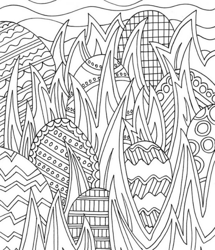 lots of eggs hidden in between grass with different patterns printable easter coloring pages black and white drawing