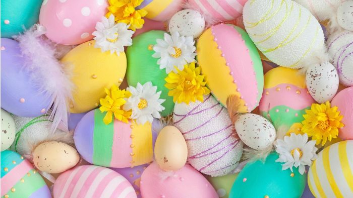 lots of eggs in different colors with different decorations cute easter wallpaper with flowers
