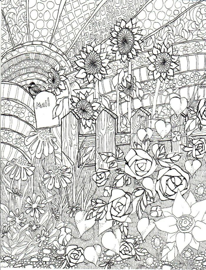 lots of flowers and different patterns in front of small fence free coloring pages for girls