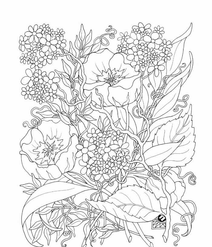 lots of flowers bunched together free printable flower coloring pages white background black outlines