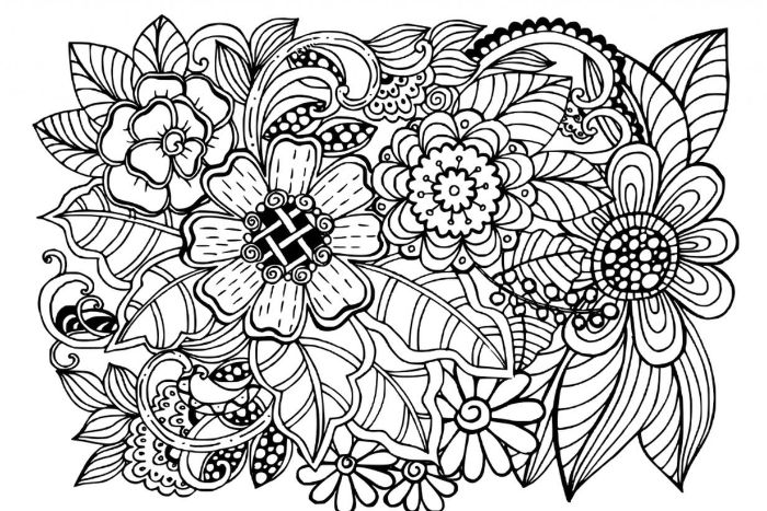 lots of flowers bunched together spring coloring sheets black and white drawing