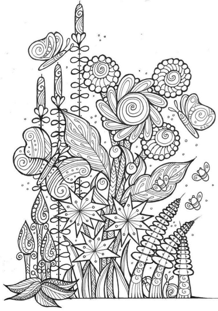 lots of flowers bunched together with different patterns free spring coloring pages black and white drawing