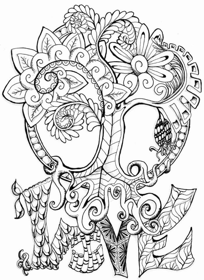 love written under drawing of tree of life free spring coloring pages drawn with different patterns