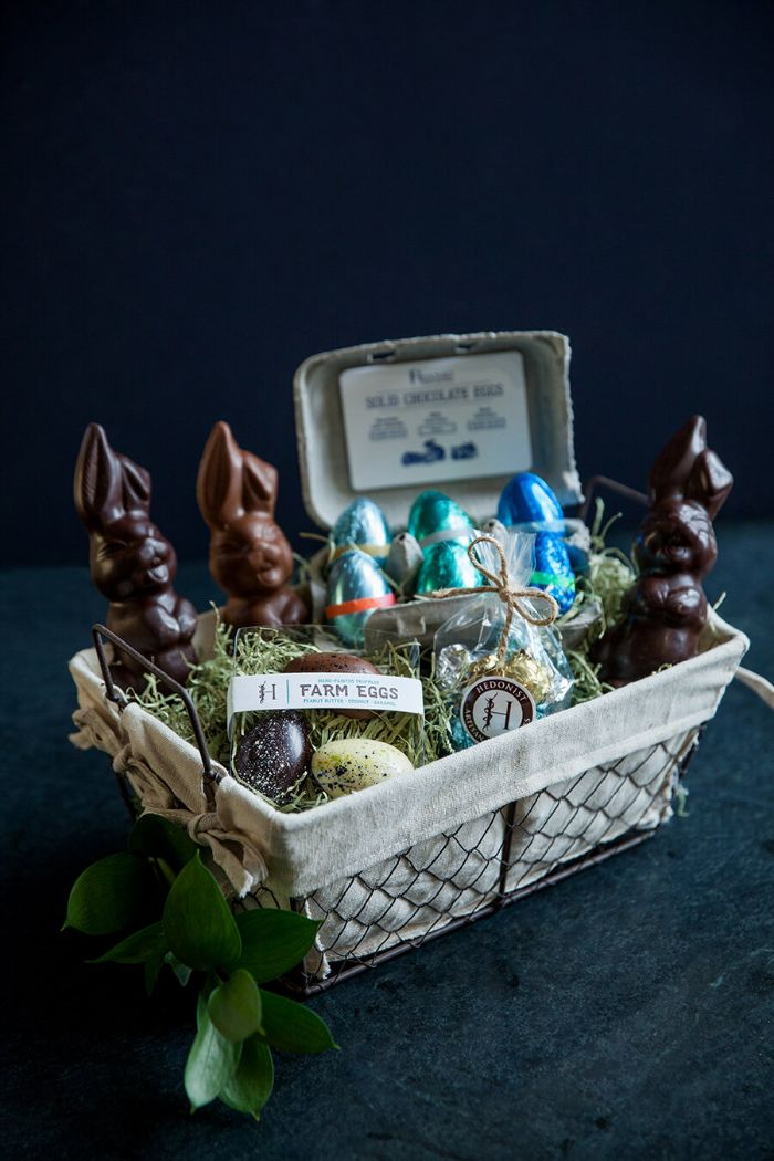 mini basket filled with chocolate bunny easter baskets for boys chocolate eggs and candy inside
