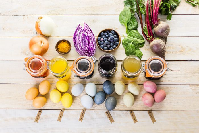 natural dye how to dye easter eggs with onion turmeric cabbage blueberries spinach beetroot