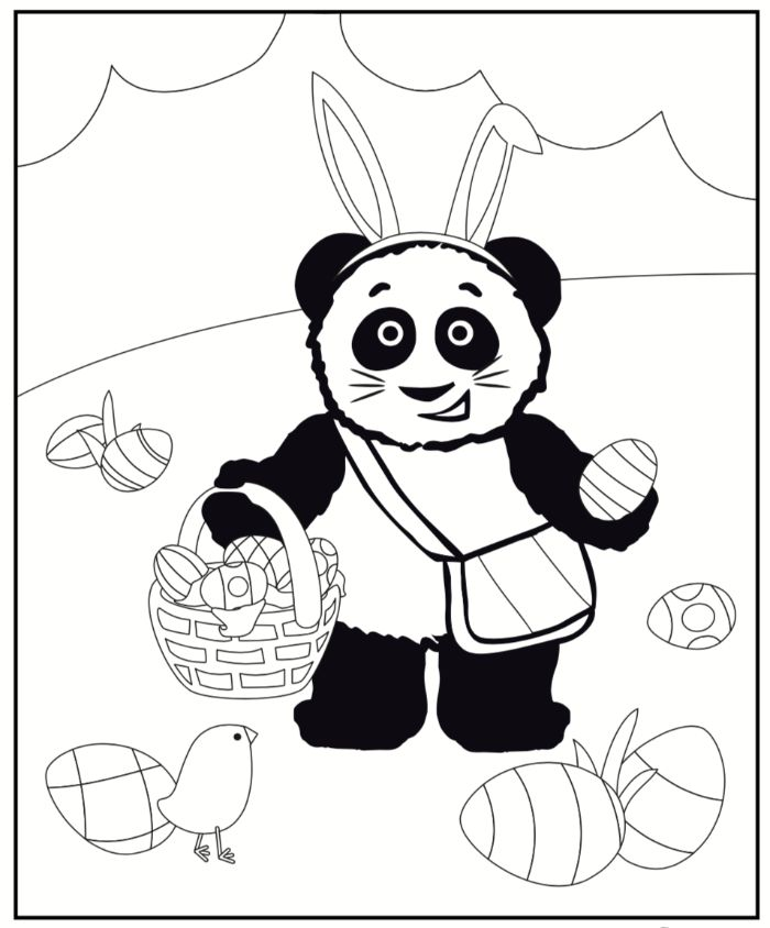 panda carrying a basket full of eggs free printable easter coloring pages wearing bunny ears