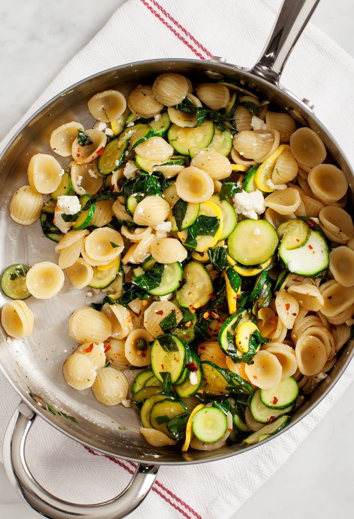 pasta cooked in sauce pan baked squash recipe with squash zucchini parsley red pepper powder