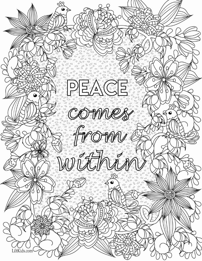 peace comes from within written in the middle spring coloring pages surrounded by flowers and birds