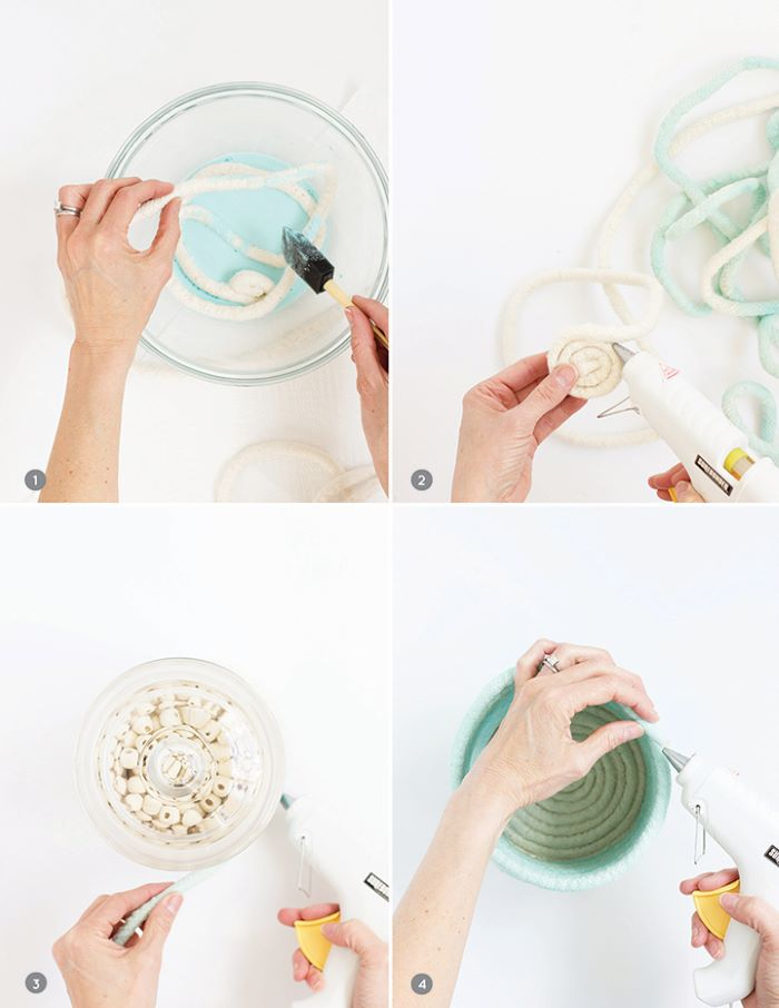 photo collage of step by step diy tutorial easter basket ideas for adults rope coil easter basket