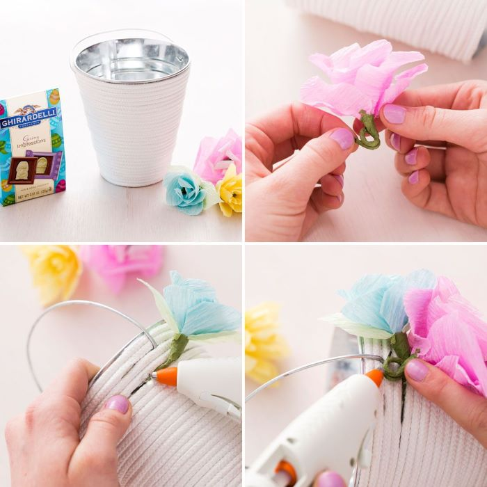 photo collage of step by step tutorial for basket with flowers on the side easter basket ideas for toddlers