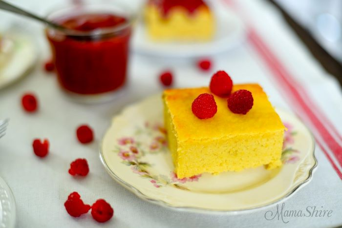 piece of cake made from squash on white plate zucchini and squash recipes topped with three raspberries