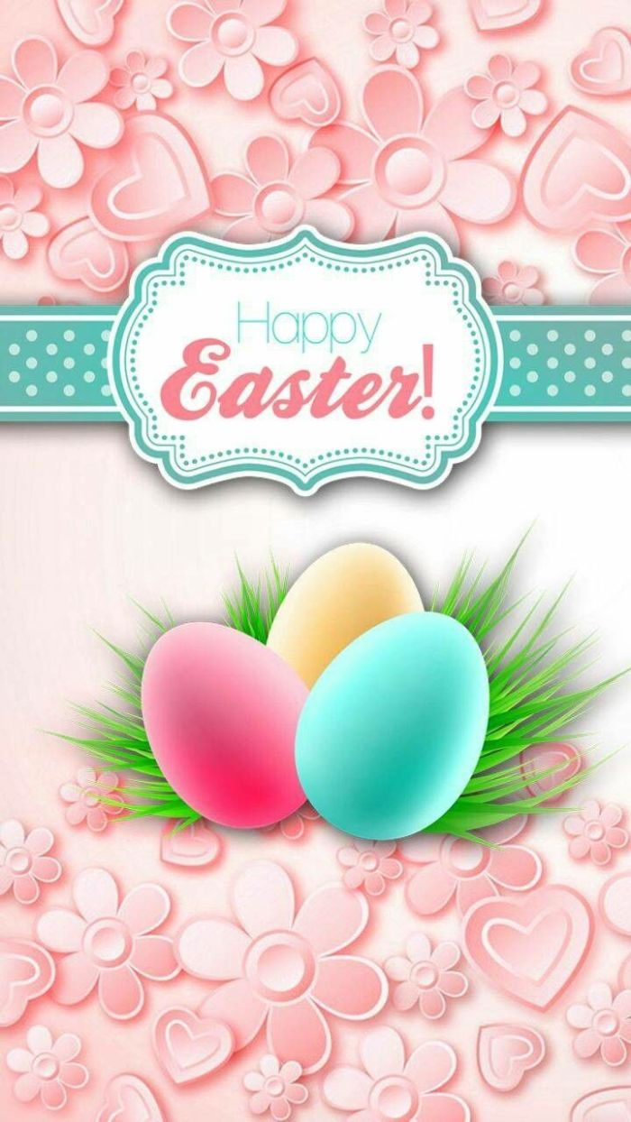 pink background with hearts and flowers easter bunny background happy easter written over three eggs