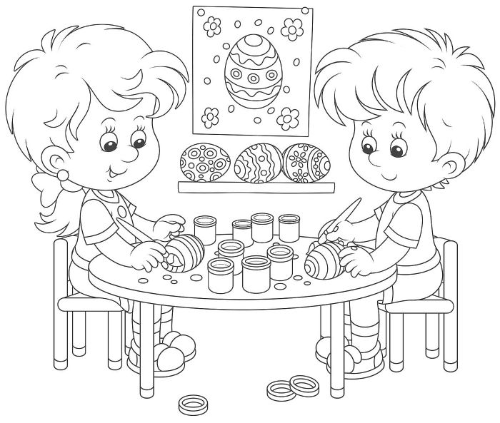 printable easter coloring pages boy and girl sitting on a table dyeing eggs black and white drawing
