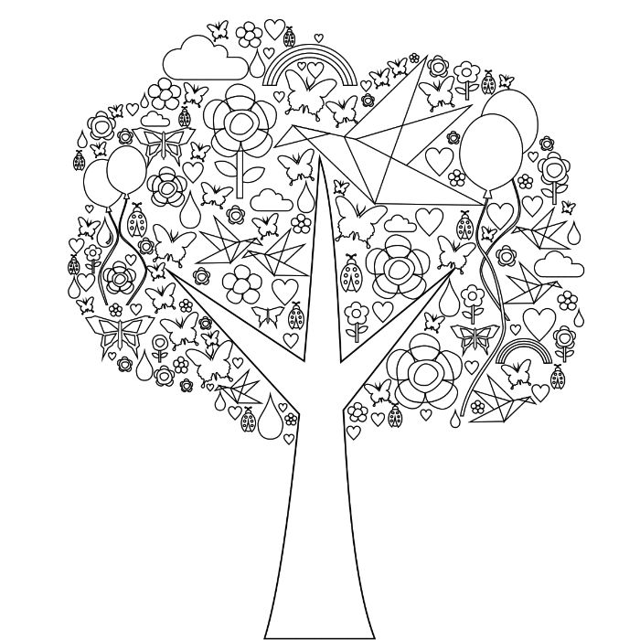 printable full size coloring pages for kids black and white drawing of tree with flowers birds butterflies balloons