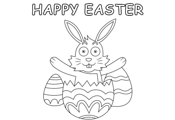 rabbit coming out of an egg free printable easter egg coloring pages happy easter written above drawing