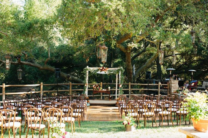 rustic wedding ideas arch with flowers table underneath lots of chairs placed under large tree