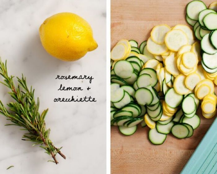 side by side photos baked squash recipe lemon rosemary squash and zucchini cut into slices