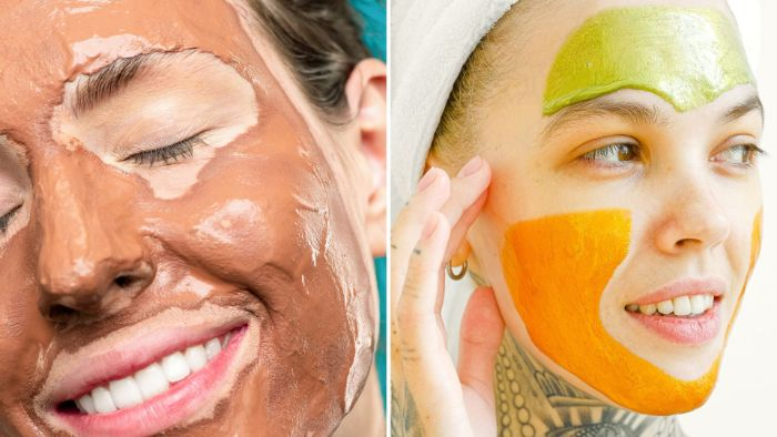 side by side photos of two women with different face masks diy face mask for acne