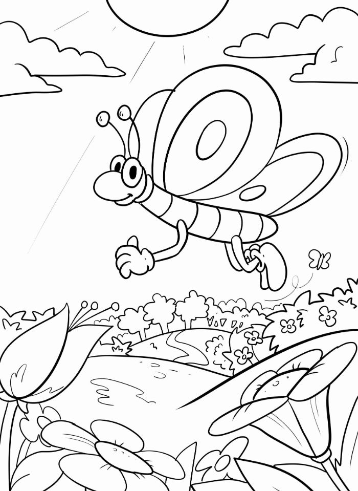 small bug flying over a field with flowers spring coloring sheets trees sun clouds in the background