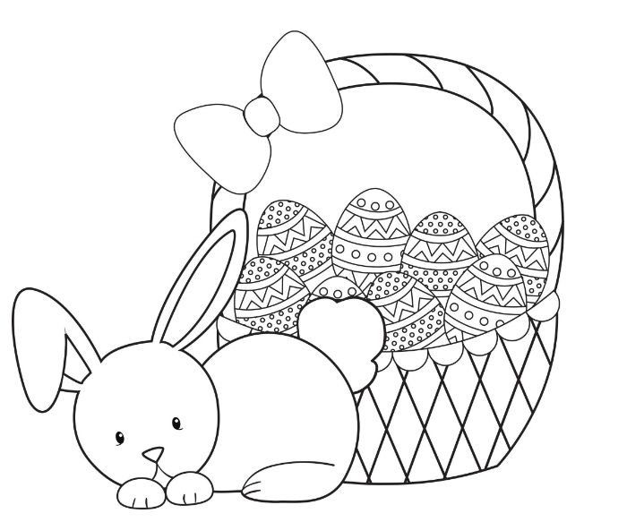 small bunny next to basket full of eggs easter coloring pages black and white drawing