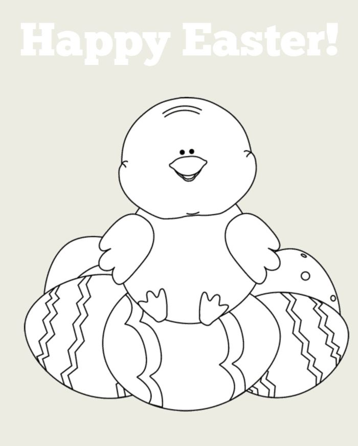 small chicken sitting on top of eggs easter egg printable happy easter written above drawing