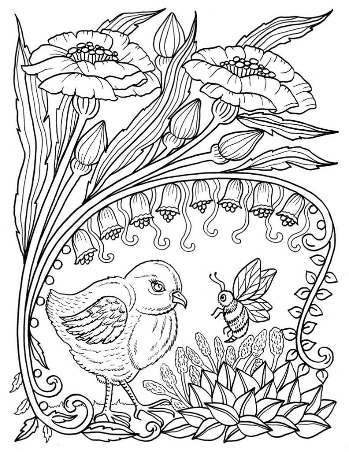 spring coloring pages black and white drawing of bird bee and flowers