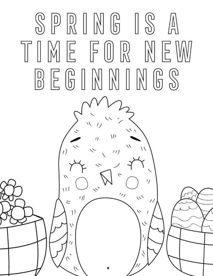 spring is a time for new beginnings written over drawing of bird free printable flower coloring pages easter eggs and flowers